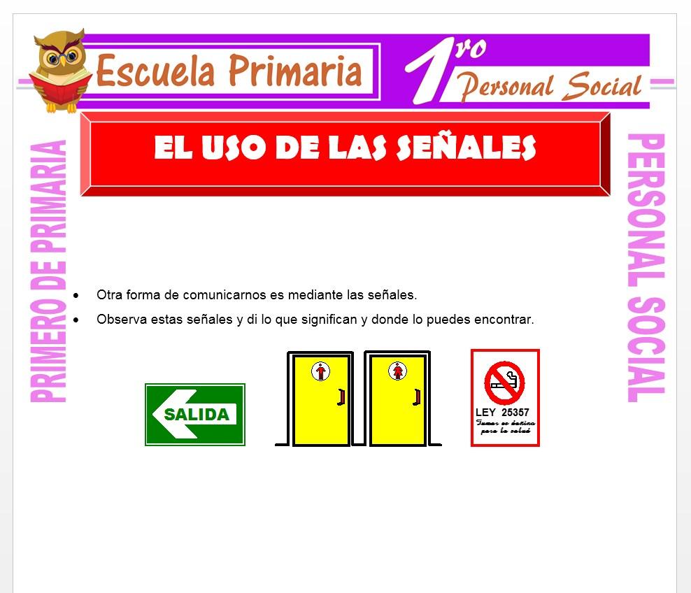 Ficha de Uso de Las Señales para Primero de Primaria