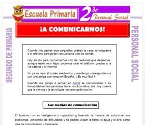 Ficha de A Comunicarnos para Segundo de Primaria