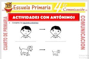 Ficha de Actividades con Antónimos para Cuarto de Primaria