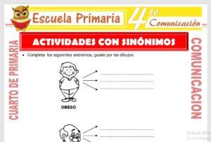 Ficha de Actividades con Sinónimos para Cuarto de Primaria