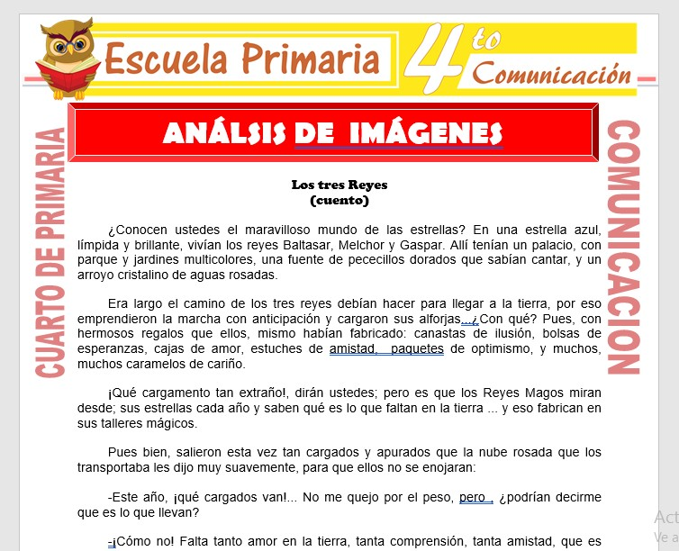 Actividades de Análisis de Imagenes para Cuarto de Primaria ...