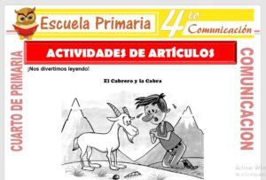 Ficha de Actividades de Artículos para Cuarto de Primaria