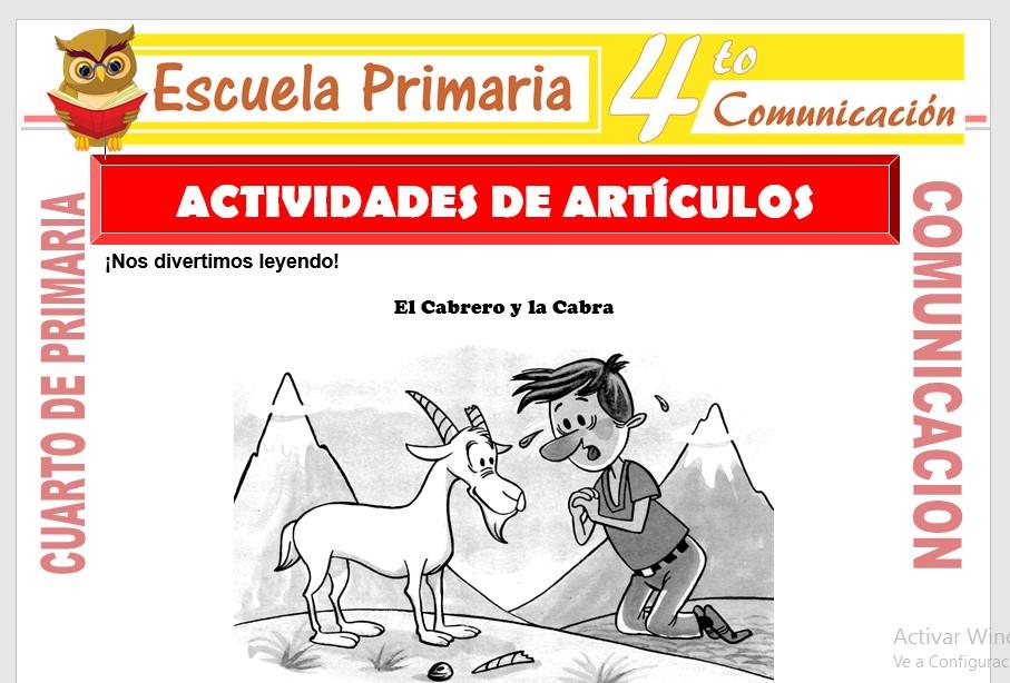 Actividades de Artículos para Cuarto de Primaria – Escuela ...