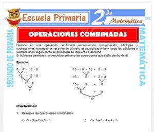 Ficha de Actividad de Operación Combinadas para Segundo de Primaria