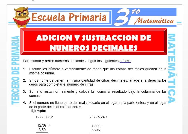 Ficha de Adición y Sustracción de Números Decimales para Tercero de Primaria