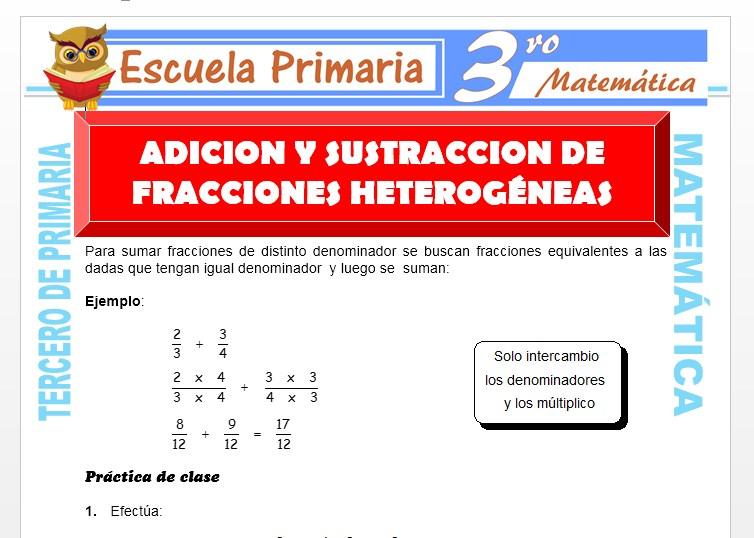 Ficha de Adición y Sustracción de Fracciones Heterogenias para Tercero de Primaria