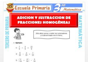 Ficha de Adición y Sustracción de Fracciones Homogéneas para Tercero de Primaria