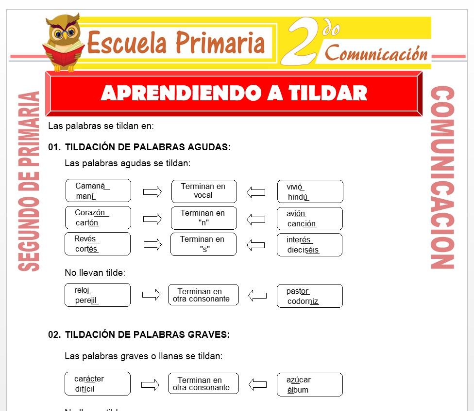 Ficha de Aprendiendo a Tildar para Segundo de Primaria