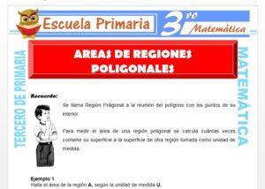 Ficha de Áreas de Regiones Poligonales Planas para Tercero de Primaria