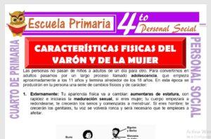 Ficha de Características Fisicas del Varón y la Mujer para Cuarto de Primaria