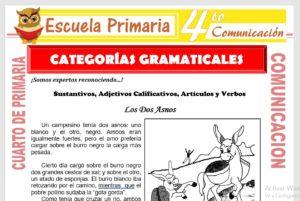 Ficha de Categorías Gramaticales para Cuarto de Primaria