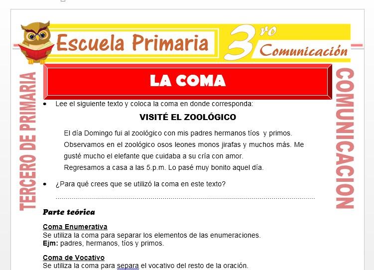 Ficha de Clases de Coma para Tercero de Primaria