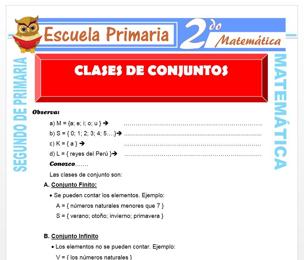 Ficha de Clases de conjuntos para Segundo de Primaria