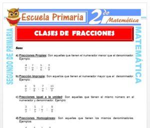 Ficha de Clases de Fracciones para Segundo de Primaria