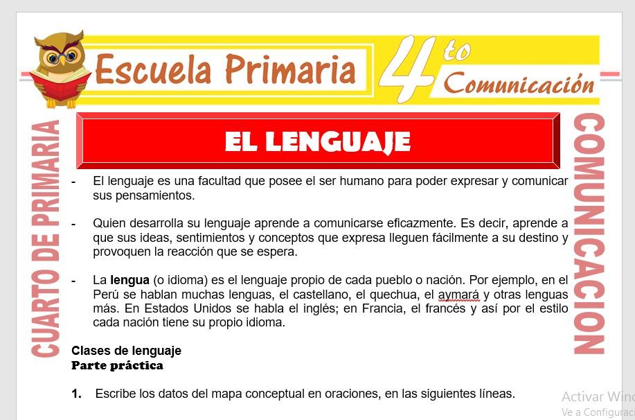 Ficha de Clases de Lenguaje para Cuarto de Primaria