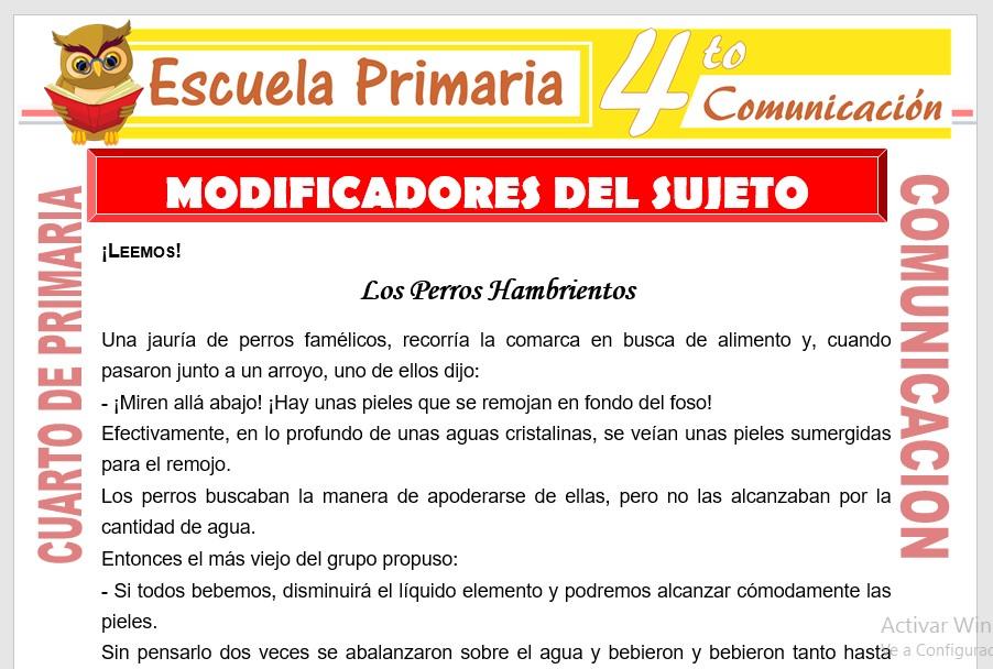 Ficha de Clases de Modificadores del Sujeto para Cuarto de Primaria