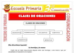 Ficha de Clases de Oraciones para Tercero de Primaria