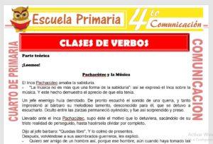 Ficha de Clases de Verbos para Cuarto de Primaria