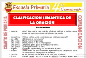 Clasificación Semantica de La Oración para Cuarto de Primaria