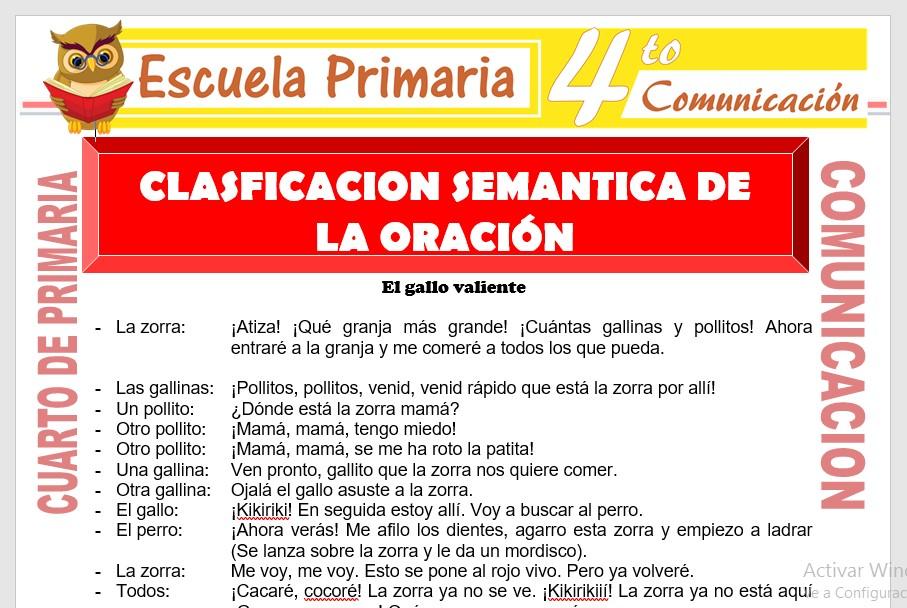 Ficha de Clasificación Semantica de La Oración para Cuarto de Primaria