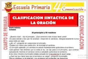 Ficha de Clasificación Sintactica de La Oración para Cuarto de Primaria