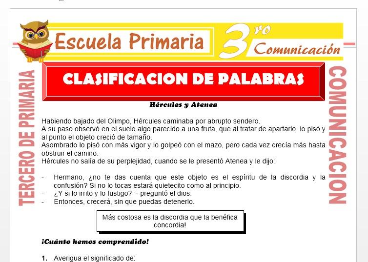 Ficha de Clasificación de Palabras para Tercero de Primaria