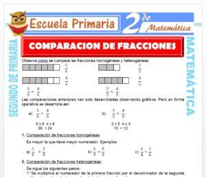 Ficha de Comparación de Fracciones para Segundo de Primaria