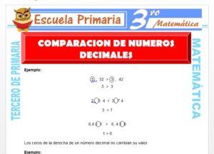 Ficha de Comparación de Números Decimales para Tercero de Primaria