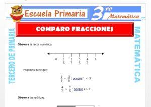 Ficha de Comparo Fracciones para Tercero de Primaria