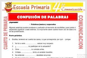 Ficha de Confusión de Palabras para Cuarto de Primaria