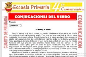 Ficha de Conjugaciones del Verbo para Cuarto de Primaria