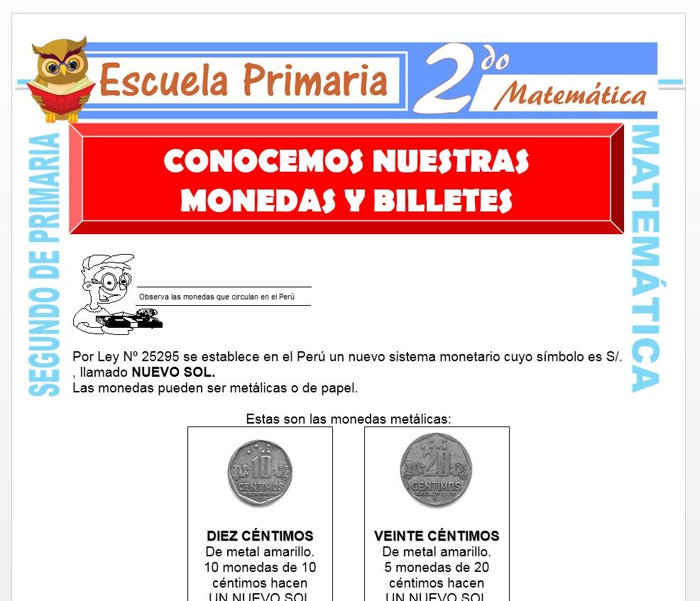 Ficha de Conocemos Nuestras Monedas y Billetes para Segundo de Primaria