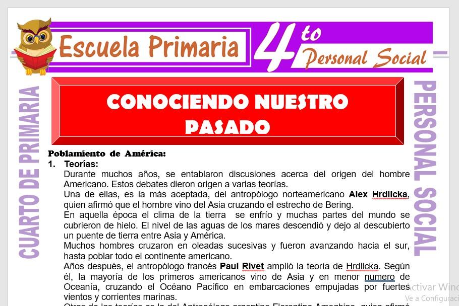 Ficha de Conociendo Nuestro Pasado para Cuarto de Primaria