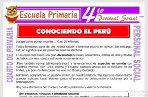 Ficha de Conociendo el Perú para Cuarto de Primaria