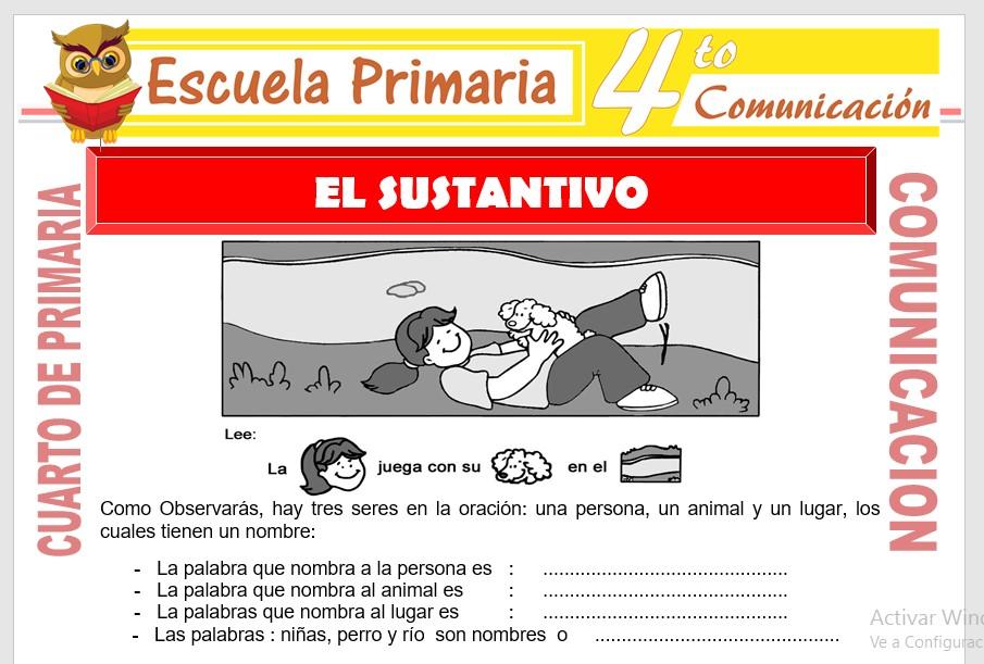 Ficha de Conociendo el Sustantivo para Cuarto de Primaria