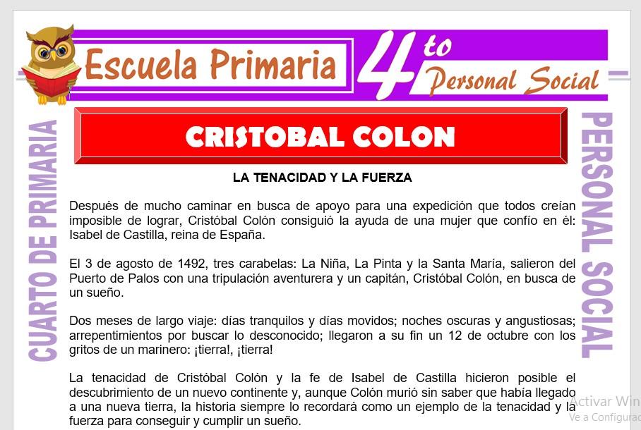 Ficha de Cristobal Colón para Cuarto de Primaria