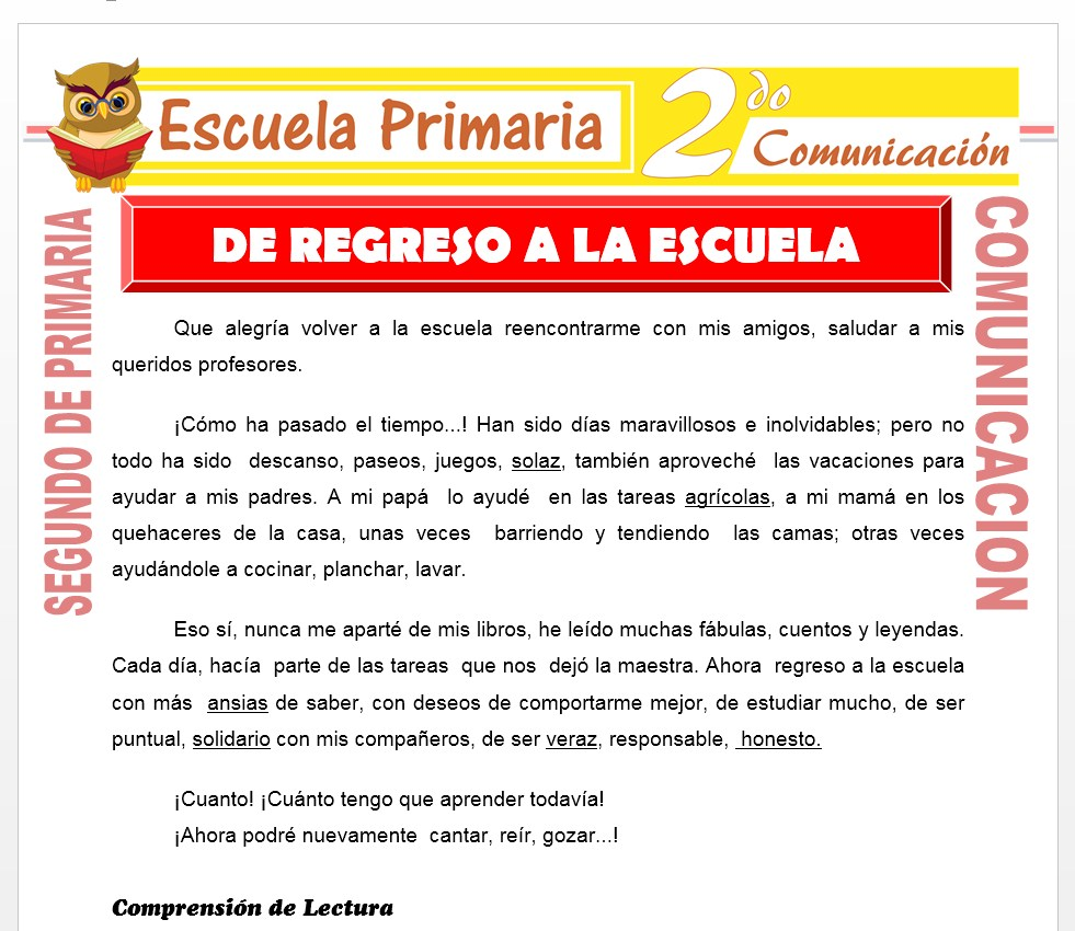 Ficha De Regreso a la Escuela para Segundo de Primaria