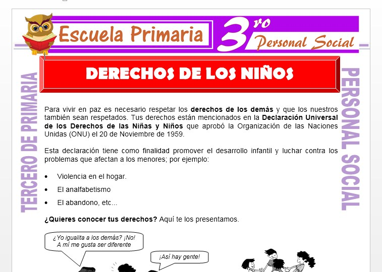 Ficha de Derechos de Los Niños para Tercero de Primaria
