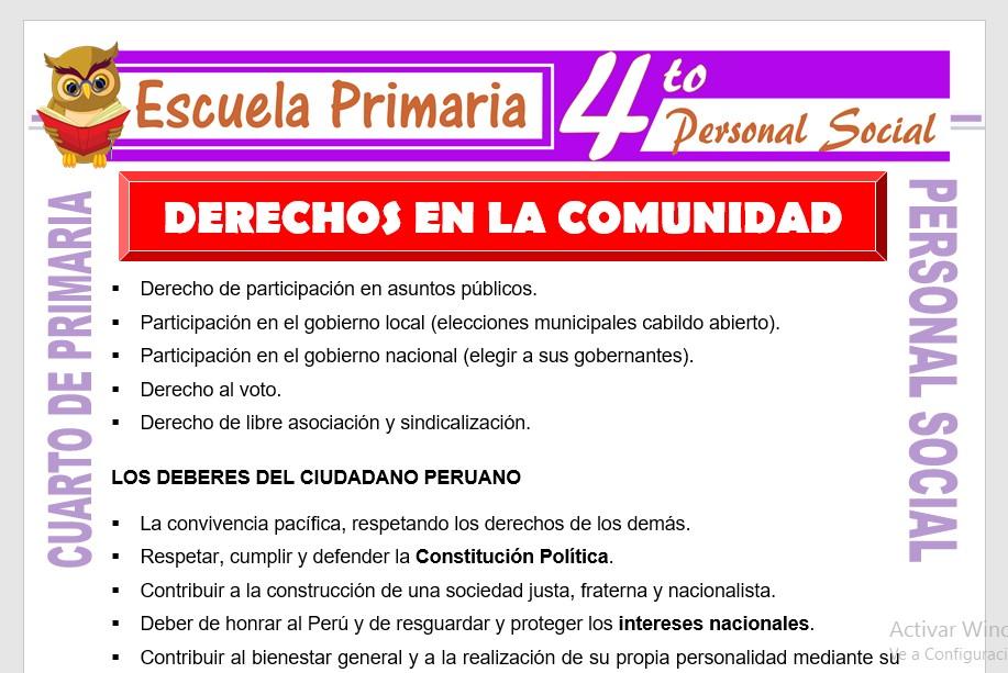 Ficha de Derechos en la Comunidad para Cuarto de Primaria
