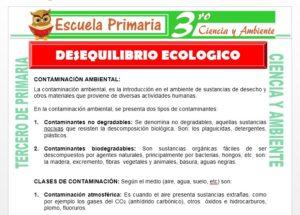 Ficha de Desequilibrio Ecologico para Tercero de Primaria