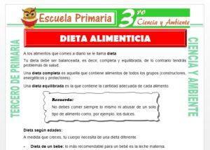 Ficha de Dieta Alimenticia para Tercero de Primaria