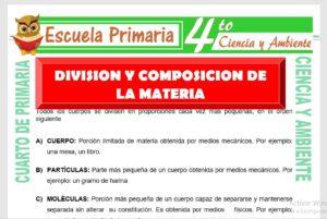 Ficha de División y Composición de La Materia para Cuarto de Primaria