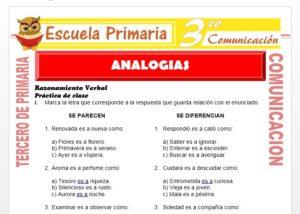 Ficha de Ejemplos de Analogías para Tercero de Primaria
