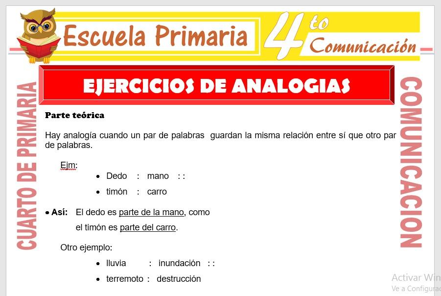 Ficha de Ejercicios de Analogias para Cuarto de Primaria