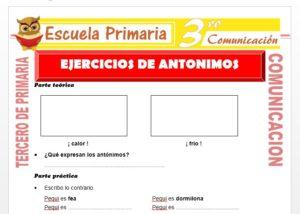 Ficha de Ejercicios de Antonimos para Tercero de Primaria