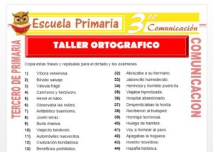Ficha de Ejercicios de Ortografia para Tercero de Primaria