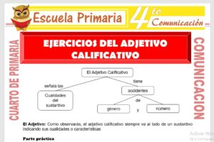 Ficha de Ejercicios del Adjetivo Calificativo para Cuarto de Primaria