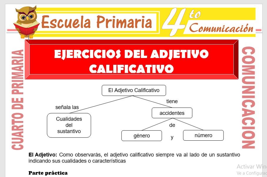 Ejercicios del Adjetivo Calificativo para Cuarto de Primaria ...
