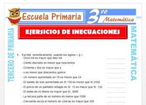 Ficha de Ejercicios de Inecuaciones para Tercero de Primaria