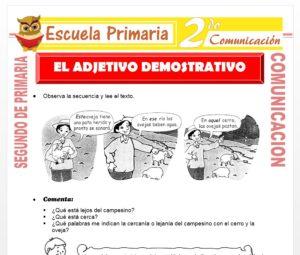 Ficha de El Adjetivo Demostrativo para Segundo de Primaria